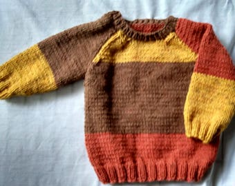 Hand knit Boy's Sweater Size 6 - 12 months