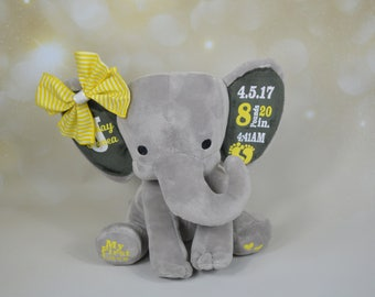 Elephant, Birth Announcement, Customized Elephant, Baby Elephant, Elephant Plush, Baby Keepsake, First Birthday Gift, Baby Shower Gift