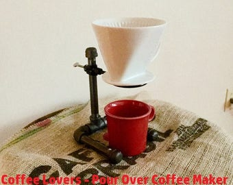 Pour Over Coffee Maker, Coffee Stand, Single Cup Stand, Industrial Black Iron Pipe, Adjustable - SALE!!