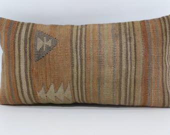 10x20 Naturel Kilim Pillow Sofa Pillow 10x20 Turkish Kilim Pillow Lumbar Kilim Pillow Cushion Cover  SP2550-1038