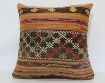24x24 Decorative Kilim Pillow Home Decor 24x24 Anatolian Embroidered Kilim Pillow Boho Pillow Home Decor Cushion Cover SP6060-1369