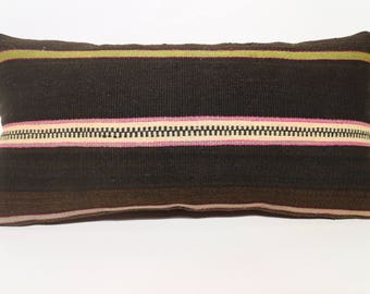 Striped Kilim Pillow Boho Pillow 12x24 Turkish Kilim Pillow Sofa Pillow 12x24 Anatolian Black Kilim Pillow Home Decor  SP3060-1389