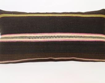 Striped Kilim Pillow Boho Pillow 12x24 Turkish Kilim Pillow Sofa Pillow 12x24 Anatolian Black Kilim Pillow Home Decor  SP3060-1389