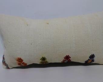 Flat Woven Kilim Pillow White Kilim Pillow 10x20 Decorativec Kilim Pillow Ethnic Pillow Lumbar Kilim Pillwo Cushion Cover SP2550-1393