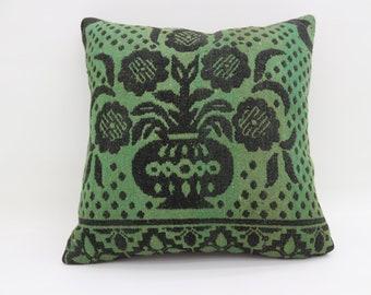 Green and Black Pillows Throw Pillows 20x20 Kelim Kissen Boho Pillows Rare Turkish Pillows Big Large Cushion Cover Kilim Pillows SP5050-2671
