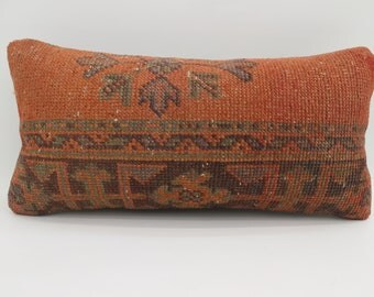 12x24 Kilim Pillow Covers Turkish Decorative Pillow Striped  Pillow Boho Pillow 12x24  Home Decor Orange Pillow Blue Pillow SP3060-1655