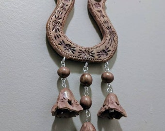 Lucky horseshoe  wall decor with bells,good luck, made with polymer clay