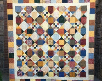 Queen Sized Quilt, Patchwork Quilt, Country Quilt, Traditional, Old Fashioned, Bed Blanket, Brown, Tan, Cream, Green, Beige, Ready to Ship