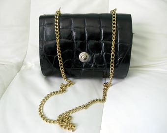Congo Real Leather Black Gold Details Clutch Bag