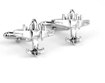 Airplane Design Cufflinks -k94 Free Gift Box!
