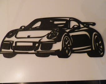 Plate porsche GT3 iron sign painted hammered effect finish