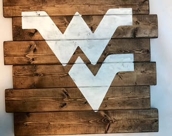 Rustic WVU wall hanging, flying WV wood sign, dorm decor, Wesr Virginia