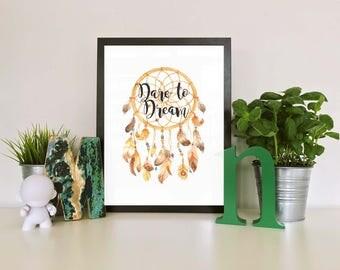 Dare to dream, dream catcher digital print. Home print.