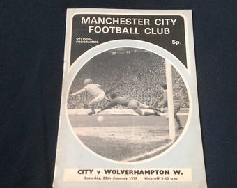 Manchester City v Wolverhampton Wanderers Sat 29th Jan 1972 football Programme