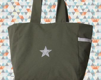 Fabric bag Shopping Bag tote for shopping bag in cotton khaki with a star