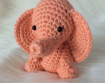 Salmon Pink Elephant, Amigurumi Elephant, Crochet Elephant, Stuffed Elephant, Cute Crochet Elephant, Elephant Plush, Crochet Stuffed Animal