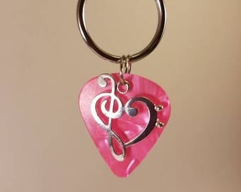 Pink music note guitar pick  keychain
