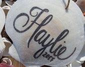 Christmas Ornament, Beach Ornament, Coastal Ornament, Personalized Ornament, Custom Ornament, Wedding or Anniversary Gift, Handwritten Gift