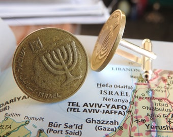 Israel coin cufflinks - made of original coins from Israel - traveler - wanderlust