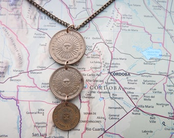 Argentina coin necklace/keychain - 4 different designs - made of coins from Argentina - South America - sun