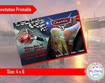 Cars 3 Birthday Party Invitation with Photo - Printable