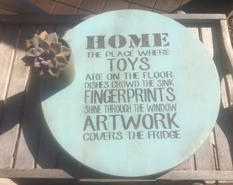 Custom Lazy Susan,Home,the ploace where,Decorative round wood,cottage decor,Shabby chic turntable,kitchen decor,rustic turntable,farmhouse
