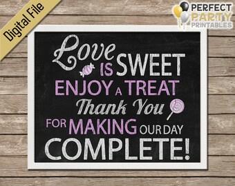 Candy Bar Sign - Love Is Sweet (Chalk/Chalkboard) - Wedding Favor - Cupcake Bar - Dessert Bar - Buffet - Printable - Instant Download - 8x10
