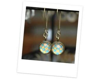 Bronze vintage cabochon earrings