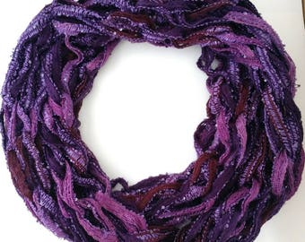 Purple Infinity Scarf • Sparkly Scarf • Sequin Scarf • Arm Knit Scarf • Gifts for Her • Gifts for Women • Handmade Scarf