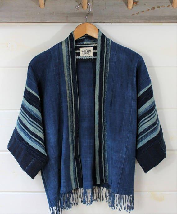 Indigo Solid + Stripe Mud Cloth Kimono