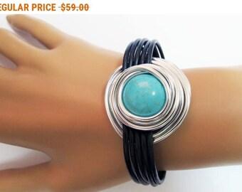Turquoise Silver Bracelet, Turquoise Stone Bracelet, Silver leather Bracelet, Turquoise Natural Stone, Wire Bracelet, Wrap Stone Bracelet,