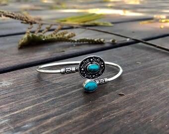 Silver bracelet silver bangles bracelet turquoise stone
