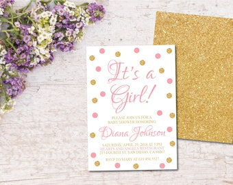 Baby Pink & Gold Printable Baby Shower Invitation/Gold Confetti Baby Shower Invitation Template/It's a Girl!/Customizable Announcement