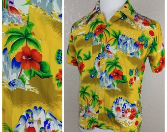 Incredible Vintage Rayon Hawaiian Novelty Print Shirt by Hawaiian Holiday