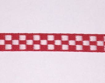 1/4 inch Red and White Checker Grosgrain Ribbon