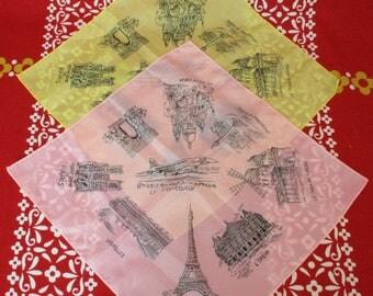 1970's Souvenir of Paris Hankie Handkerchief Pair Concorde Eiffel Tower Moulin Rouge