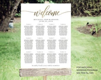 Wedding Seating Chart Template | Editable PDF, Printable Seating Plan Poster, Seating Board | Gold Lettering | ED 5153