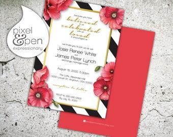 "Modern Poppy Wedding Invite - 5x7"" - Digital File Only!!"