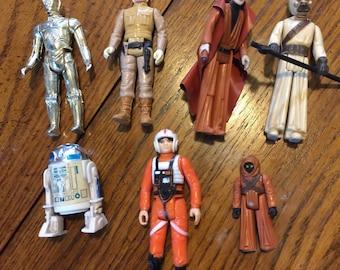 Lot 7 Star Wars older action figures most 1977