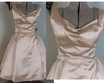 Vintage 1950s cream satin party formal prom dress large 222