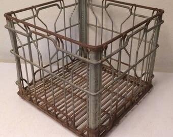 Metal Milk Crate, Dairy Milk Crate, Wire Milk Crate, Vintage Milk Crate, Industrial Crate, Milk Bottle Crate, Industrial Storage, Steam Punk