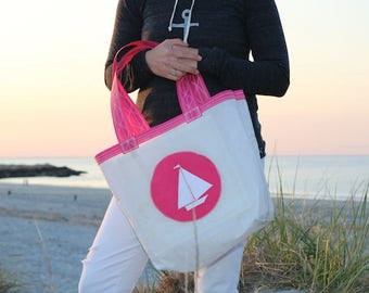 Pink Boat- Small Recycled Sail Bag - Every Day Tote