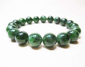 Diopside Bracelet Gemstone Bracelet Womens Bracelet Heart Chakra Bracelet Spiritual Bracelet Healing Crystal Love Bracelet Men Bracelet 10mm