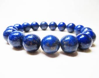Lapis Lazuli Bracelet Mens Bracelet Gemstone Bracelet Healing Bracelet Spiritual Bracelet Throat Chakra 10mm Lapis Lazuli Third Eye Chakra