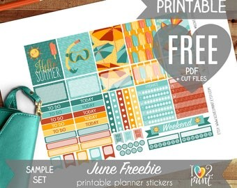 FREE June Summer Time Printable Stickers - DOWNLOAD LINK - Do not purchase