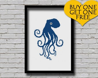 Cross Stitch Pattern Octopus Silhouette Wall Art Nature Art Sea World Animal Xstitch Embroidery Modern Decor Gift for DIYers