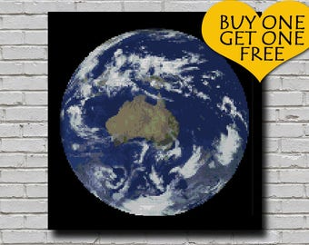 Cross Stitch Pattern Earth Globe Decor World Globe Embroidery Australia Continent from Space Earth Planet xstitch Chart Downloadable