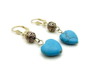 Turquoise hearts and antique Silver earrings