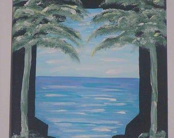 """Window on the ocean"" acrylic painting on canvas frame"