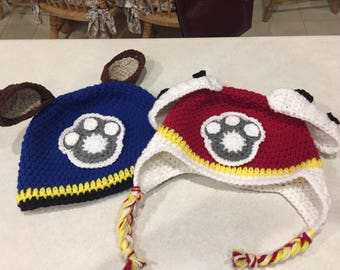 Paw Patrol Hat.  With or without braids.  Size Newborn to Toddler.